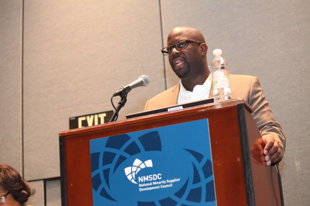 Panelist Clint Grimes of Time Warner giving NMSDC Conference attendees strategies for winning business.