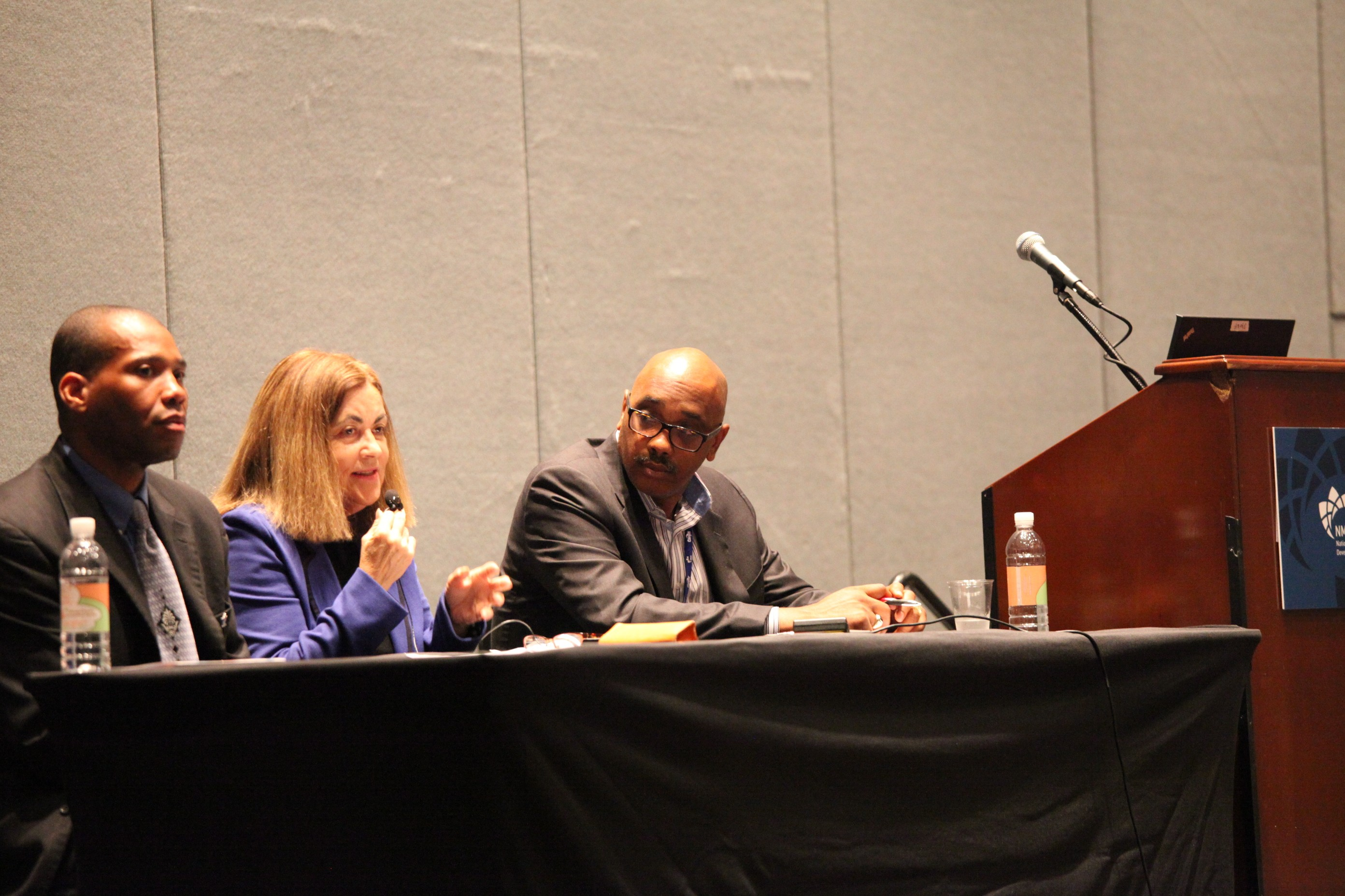 Panelist Kevin L. Bell of Chrysler Group, Joan N. Kerr of Pacific Gas & Electric Company and Frantz J. Tiffeau, Jr. of Nationwide Insurance at Wednesday's workshop on analyzing corporate spend data.