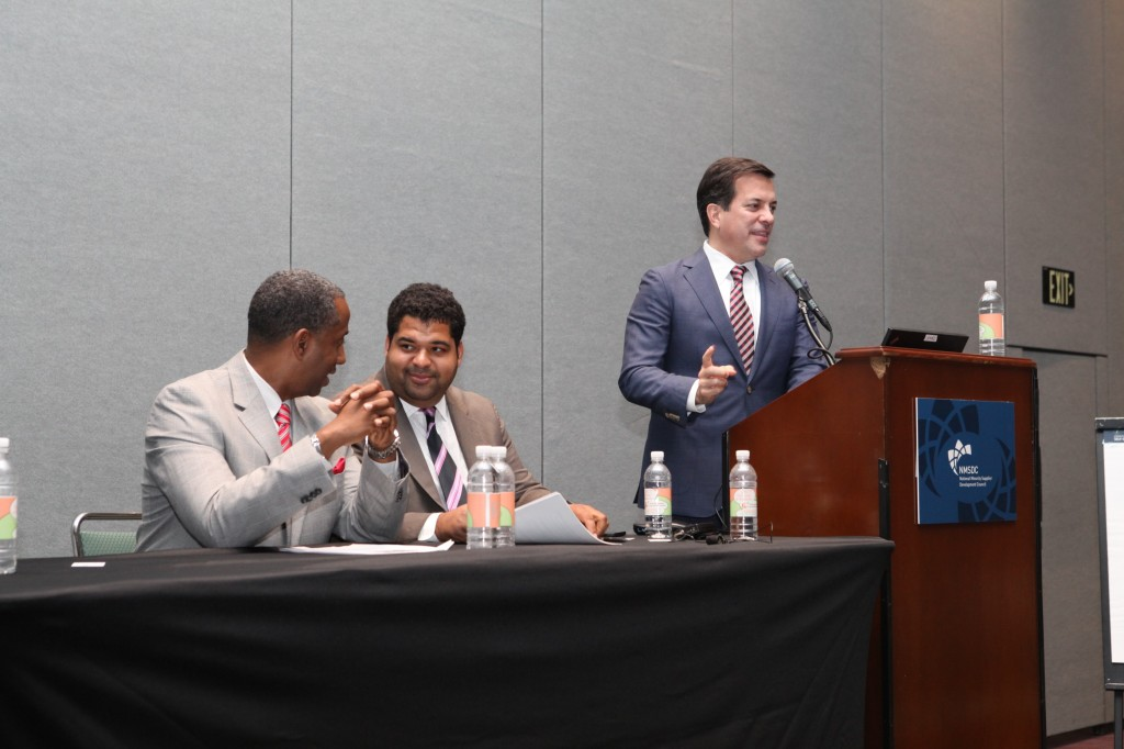 Nelson Reyneri of Liberty Power moderates a workshop on Hot Spots for Growth for MBEs with panelist Chris Genteel of Google and John Munson, Jr of Macy's.