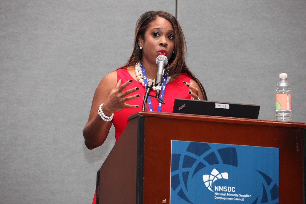 Karmetria Dunham Burton of Delta Air Lines speaks to NMSDC attendees at Wednesday's workshop on cross-functional collaboration.